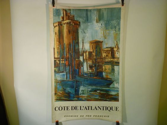 TRAVEL POSTER SNCF 1968 FRENCH RAILWAY COTE ATLANTIQUE LARRIEU FRANCE  E352