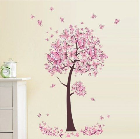 Removable Flower Butterfly Tree Wall Stickers Art Decal Girls Bedroom Home Decor