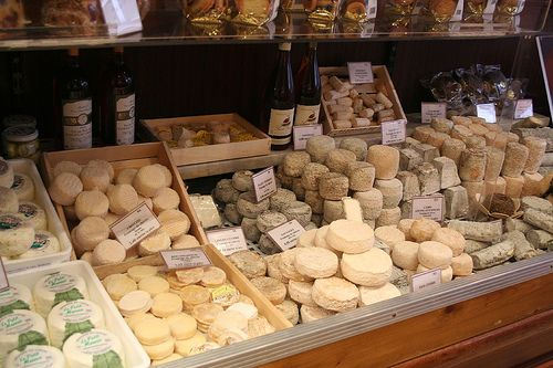 Cheese shop-- use boxes to make a proper display