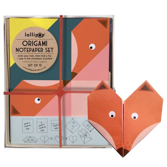 Fox Origami Notepaper Set by Lollipop