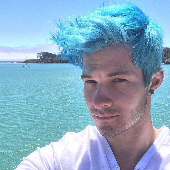 Totosingman Pelo Azul Boys Colored Hair Short Blue Hair Sky Blue Hair
