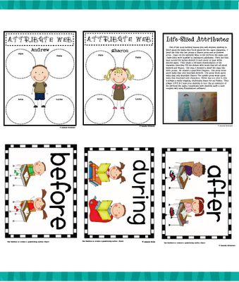Before/during/after cards & character attribute graphic organizer