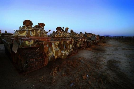 Environmental Graffiti has collected photos of these tank graveyards from around the world. Be sure to check out their site for even more images of post-war decay.