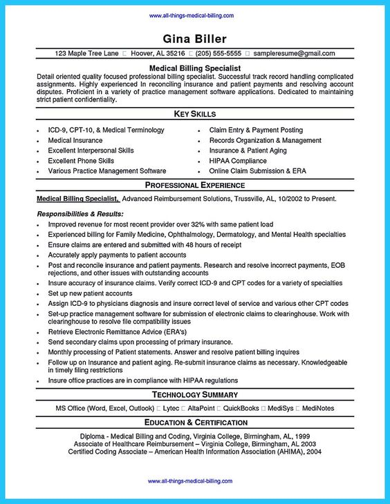 14 Medical Billing Resume Samples Riez Sample Resumes Riez - sample medical records release form