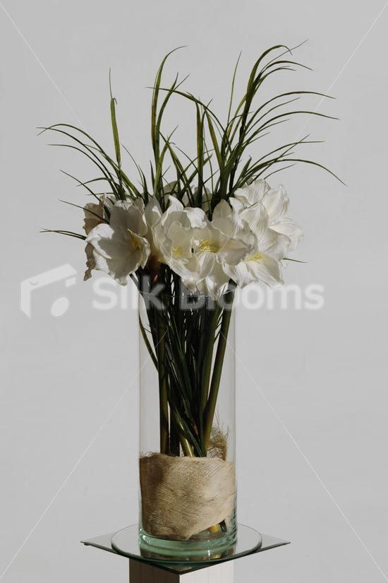 Large Ivory Real Touch Artificial Amaryllis Vase Display Home Flower Arrangement Home Floral