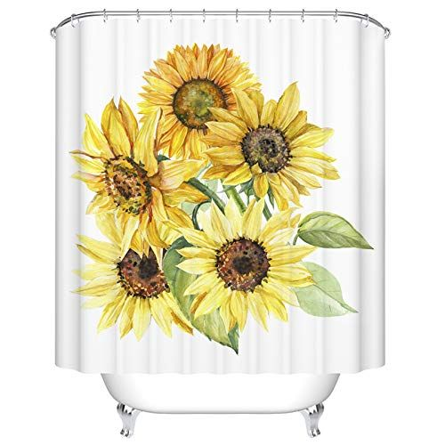 Ormis Pattern Watercolor Bouquet Of Sunflowers Shower Curtains In 2020 Bathroom Plants Shower Curtain Watercolor Bouquet