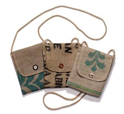 Recycled coffee bag purses - upcycled DIY