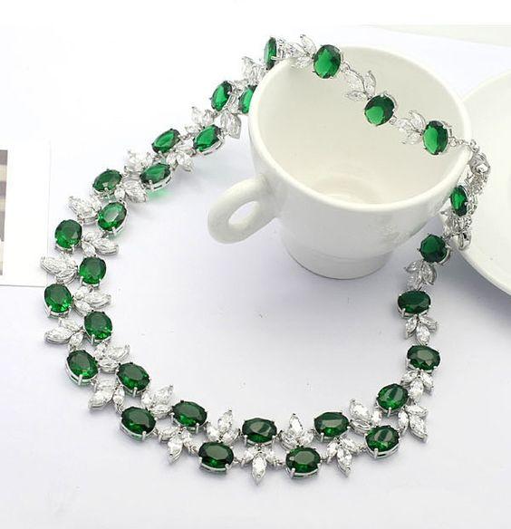 Style No.A800038,2pcs Elegant White Cubic Zirconia Chokers Necklace- Drop & Dangle Earrings,US$194.99