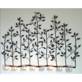 T te de lit applique fronton mural en fer arbre bougeoir 8 for Arbre mural en fer forge