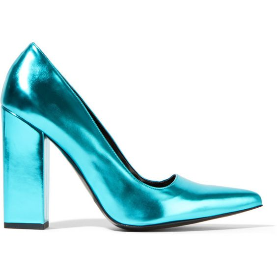 Stella McCartney Metallic faux patent-leather pumps (6 625 UAH) ❤ liked on Polyvore featuring shoes, pumps, turquoise, pointy-toe pumps, slip on pumps, pointed toe shoes, slip-on shoes and stella mccartney