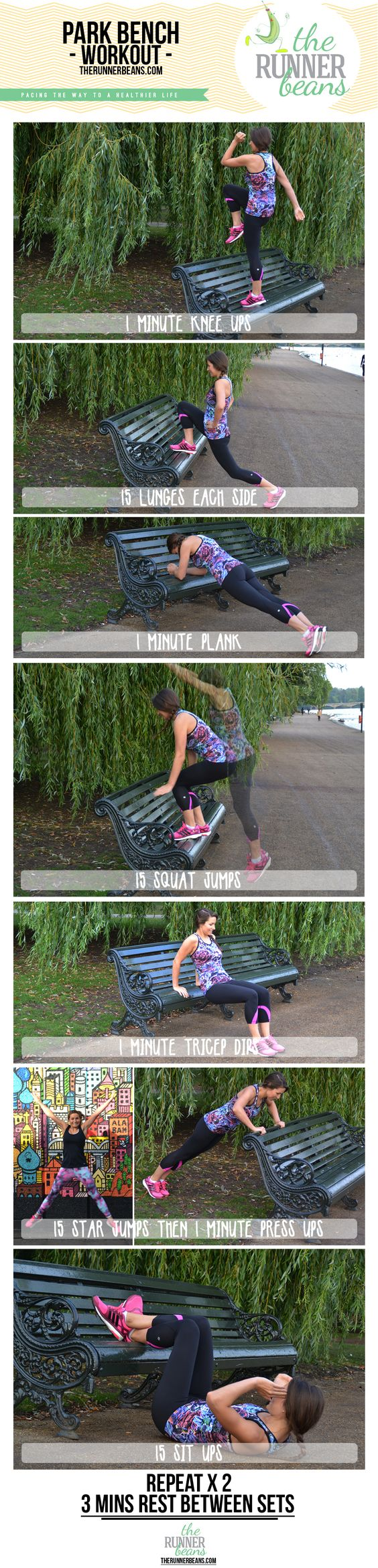 An easy workout utilising a park bench or a bench anywhere! Great to add on after some cardio or in between sets of sprint intervals. No equipment needed and works the whole body. www.therunnerbeans.com
