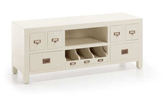 Mueble de tv colonial blanco jasmine 6 cajones demarques - Muebles coloniales ...