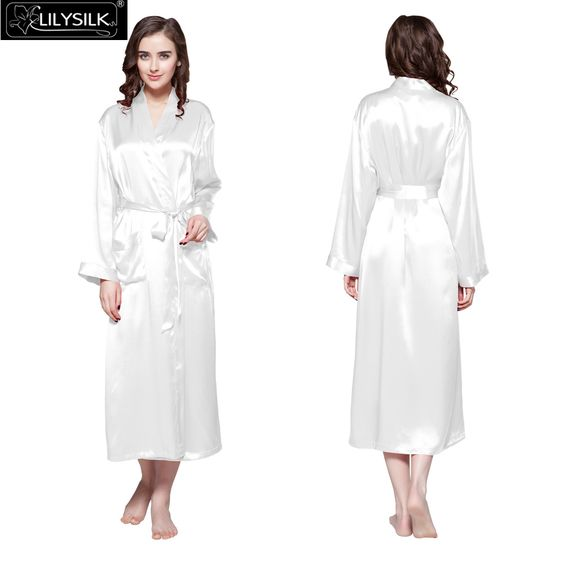 Lilysilk 100% Pure Silk Kimono Long Women Wedding Bride Robe 22 Momme Satin Long Sleeve Sleepwear Bathrobes Brand Fashion Summer *** Visit the image link more details.