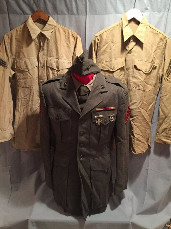 USMC Service Green Tunic, Garrison Cap and Two Tan Shirts