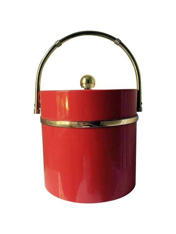 Vintage Red and Gold Ice Bucket on Chairish.com