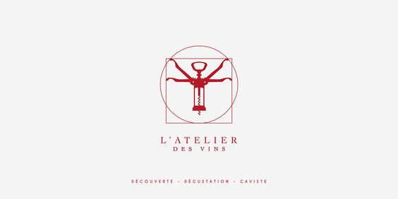 L'atelier des Vins - Branding for a new wine cellar in Montpelier - France. I wanted to create something fun, linked with art but also classica, like wine can bel. I used the famous draw from Leonardo da Vinci and the object that every wine bottle need, a corkscrew. I had to create an art direction for the place. Every wall get a kind of wine, Red, White and Bubble. © Estelle Philibert & Robin Gillet - Studio Ellair