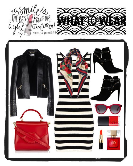 """""""stripe dress rock style"""" by loli-laspina on Polyvore featuring Valentino, Gucci, Lulu Guinness, Versace, NARS Cosmetics, Bobbi Brown Cosmetics, Kate Spade and Alexander McQueen"""