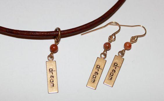 Affirmation Necklace-Dream Tag by HoneysuckleJewelscom on Etsy