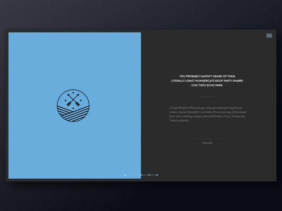 Une composition en deux panels pour cette landing page, accompagnée d'une démo des transitions de page et de navigation.