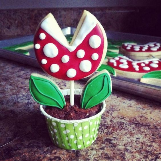 Piranha plant cookie/cupcake combo (and a bunch of other wonderfully geeky desserts).