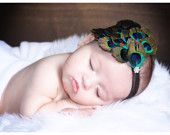 Headband with peacock green romper for first picture session