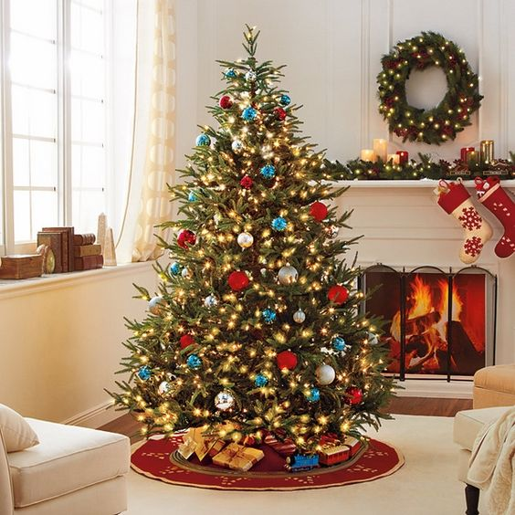 red blue and gold christmas tree - Google Search