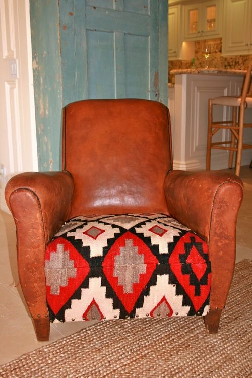 southwestern navajo decor- leather and distressed blue door.