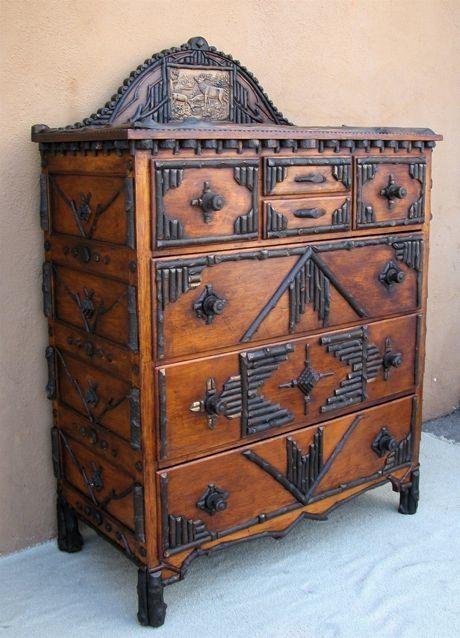 Adirondack tramp art dresser rustic home decor - Adirondack style bedroom furniture ...