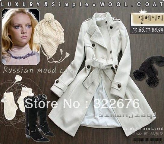 2013 Fashion Women's Stand Collar Single Breasted Buttons Decorated Long Worsted Coat With Belt White/Pink/Black/Blue/RedJR0020 $32.99