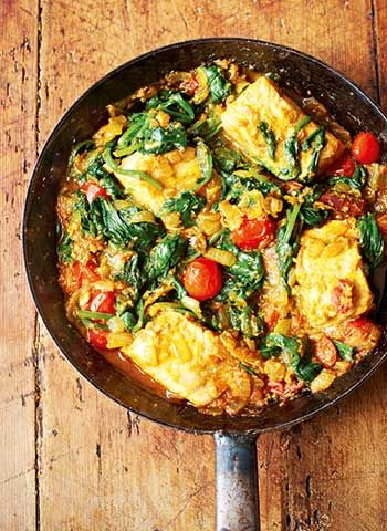 Indian salmon curry with spinach