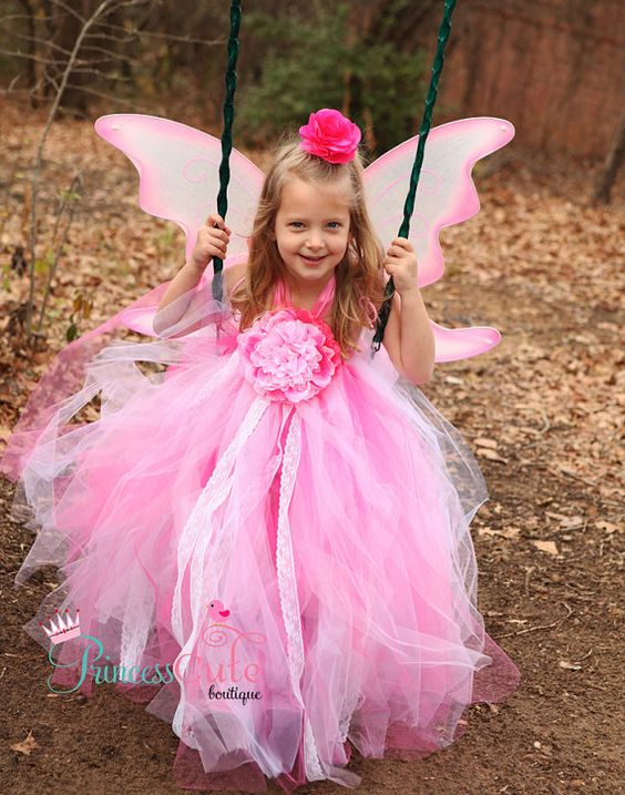 Pink Pixie Tutu Dress with Fairy Wings by PrincessCuteBoutique