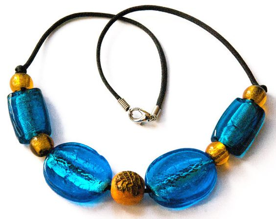 Chunky  Beaded Necklace  Brightly colored  Blue and by LorikArt, $28.00