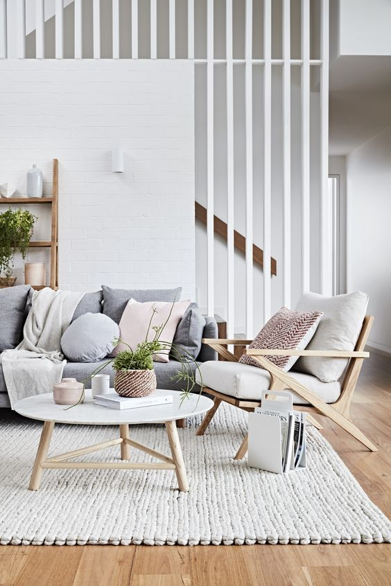 Modern Scandinavian Light And Bright Design With Pink And Grey Interior Living Room Scandinavian Minimalist Living Room Scandinavian Design Living Room
