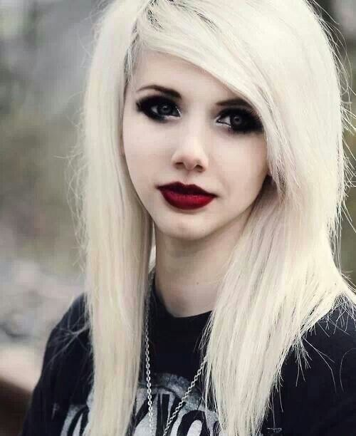White Hair Dark Red Lipstick Emo Goth Punk Cyber Scene
