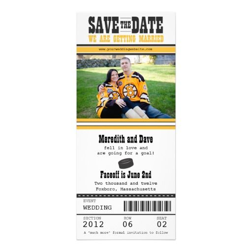 Hockey Ticket Wedding Save the Date Personalized Announcement