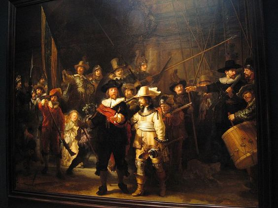 The Night Watch by Rembrandt van Rijn, 1640 - 1642. Rembrandt painted The Militia Company of Captain Frans Banning Cocq between 1640 and 1642. This picture was called the Nachtwacht by the Dutch and the Night Watch by Sir Joshua Reynolds.