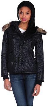 Romeo & Juliet Couture Woven Padding Jacket w/Fur hood on shopstyle.com