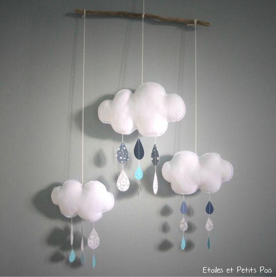 mobile d coratif nuage et gouttes de pluie gris bleu. Black Bedroom Furniture Sets. Home Design Ideas