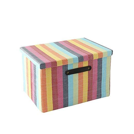 Large Fabric Storage Box With Lid And Leather Handles By Tegance Decorative Collapsible St Decorative Storage Boxes Storage Boxes With Lids Fabric Storage Bins