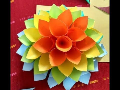 Making Wall Decorative Colored Hanging Paper Flowers At Home 5