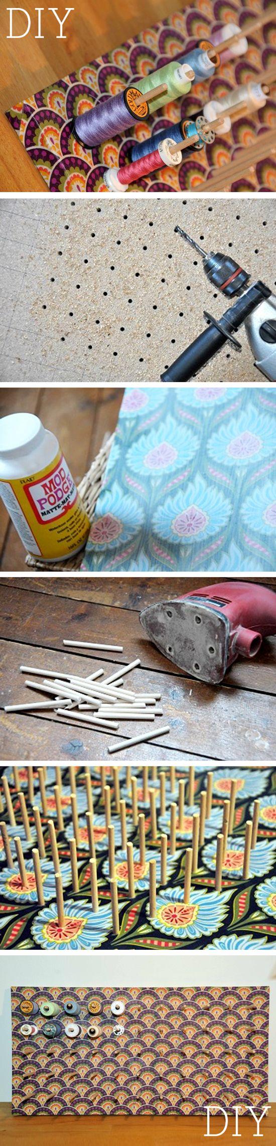Voici comment faire vous même un super porte-bobines. Grâce à lui vous pourrez non seulement #organiser toutes vos bobines colorées, mais il fait en plus un excellent accessoire de #decoration pour votre maison !