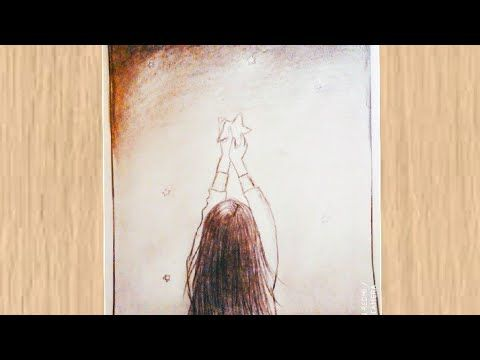 Learn How To Draw A Girl With A Star Easy Drawing رسم سهل تعلم طريقة رسم فتاة تحمل نجمة Youtube Painting Landscape Paintings Landscape
