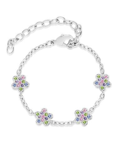 Silver Quad-Color Flower Bracelet by Chanteur Designs #zulily #zulilyfinds