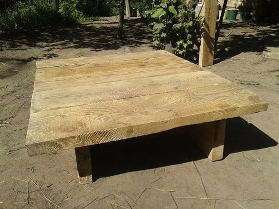 madera recuperada mesa de de patio al aire libre