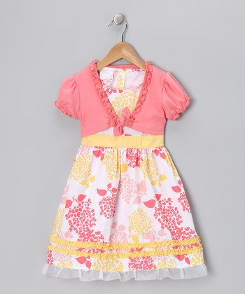 Coral & Yellow Hydrangea Dress & Shrug - Infant, Toddler & Girls