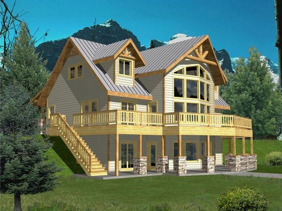Hillside mountain house plans house design plans for Hillside house plans