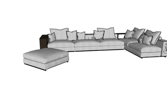 Sofá baixo cinza - 3D Warehouse