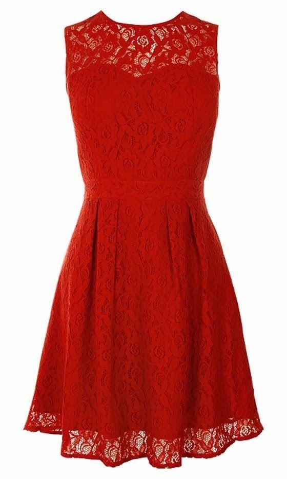 Beautiful red lace box pleat dress fashion - clothes &lt-3 ...