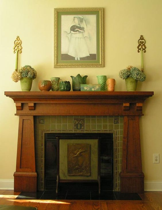 Arts and craft fireplaces and mantels google search for Prairie style fireplace