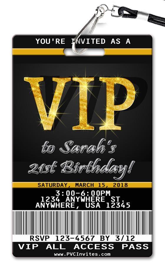 Vip Pass Birthday Invitation Invitaciones